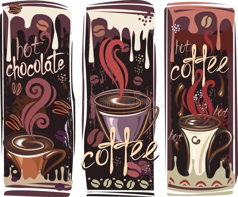 Download Sztandary kawowi ilustracja wektor. Obraz złożonej z gorący - 17830113