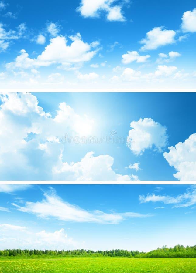 Sztandary pole trawa i niebo obraz stock