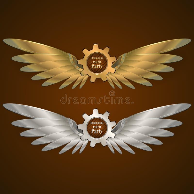 sztandary z przekładniami w postaci metali skrzydeł logo royalty ilustracja