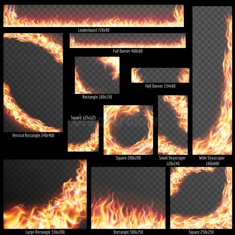 Sztandary z Realistycznymi pożarniczymi płomieniami 10 eps royalty ilustracja