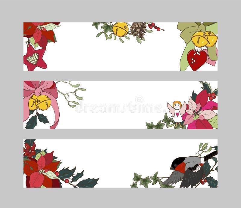 Sztandary z tradycyjnymi Bożenarodzeniowymi roślinami ilustracji