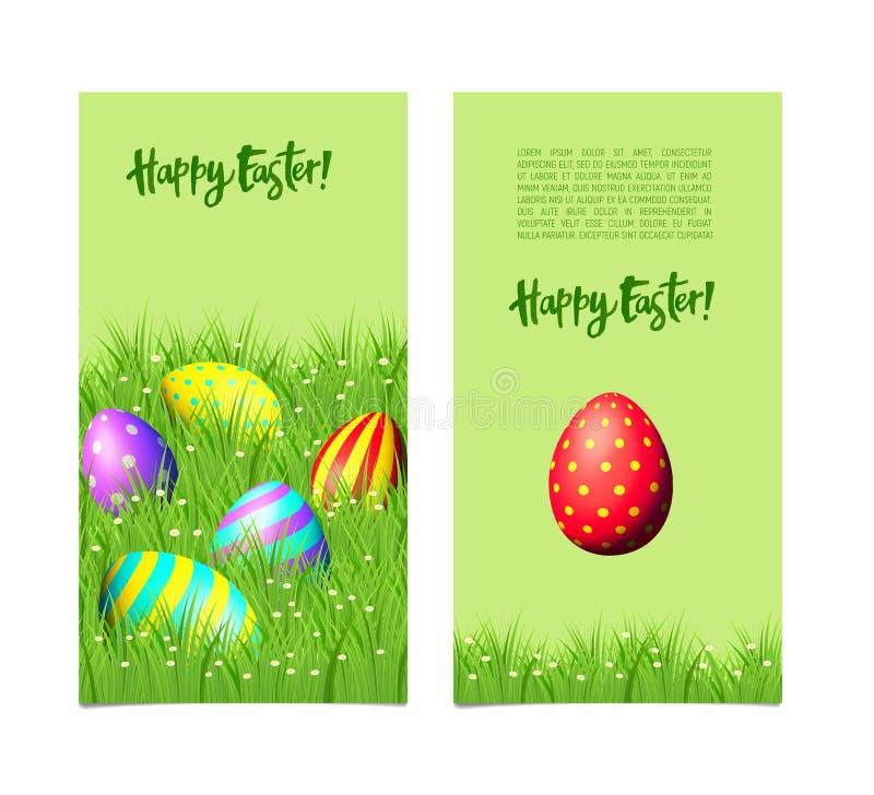 Sztandary z Wielkanocnymi jajkami i zieloną trawą ilustracji