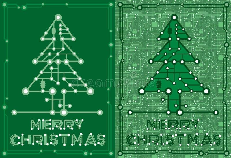 Sztandary zielona świerczyna z komputeru i płyty głównej elementami ilustracji
