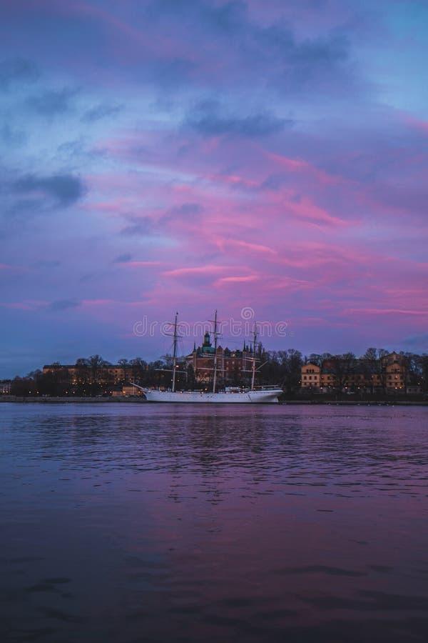 Sztokholm łódź zdjęcie royalty free