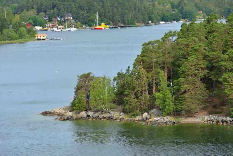 Sztokholm archipelag, wielki archipelag w Szwecja i drugi co do wielkości archipelag w morzu bałtyckim, LATO krajobraz zdjęcie royalty free