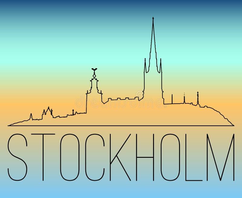 Sztokholm linii horyzontu konturu ilustracja ilustracji