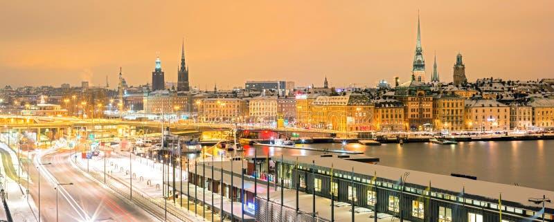 Sztokholm pejzażu miejskiego panorama zdjęcia royalty free