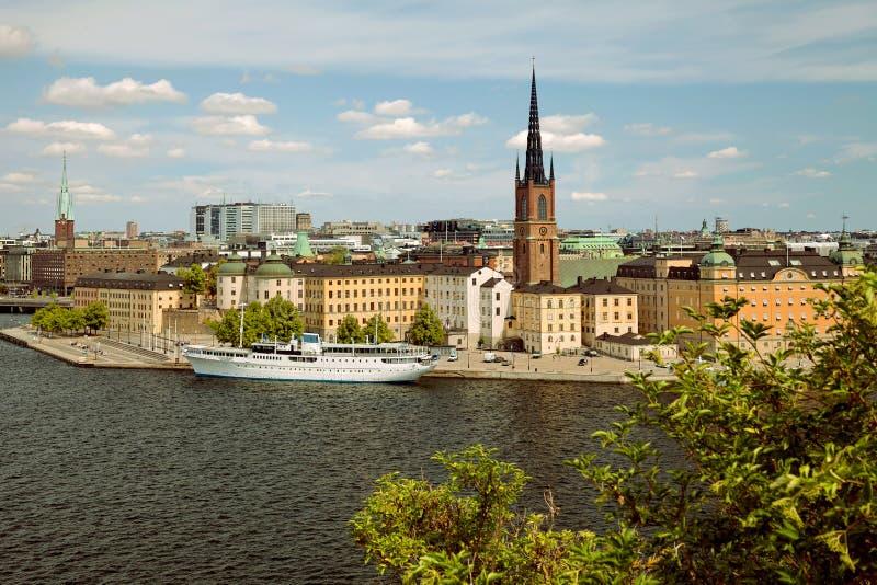 Sztokholm, Szwecja - Stary Grodzki Gamla Stan, widok od Monteliusvagen fotografia stock