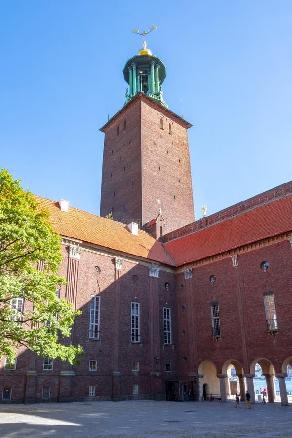 Sztokholm urząd miasta podwórze, Szwecja fotografia royalty free