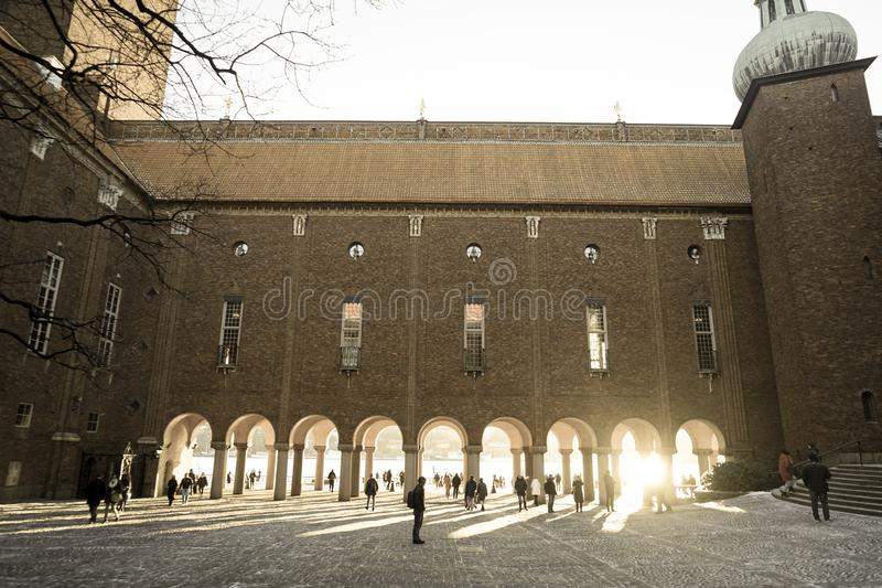 Sztokholm urząd miasta podwórze Szwecja obrazy royalty free