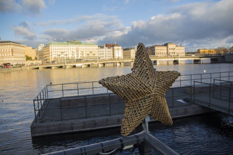 Sztokholm wokoło boże narodzenie czasu foluje ładni mali dotyki jak to fotografia stock