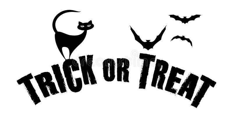 sztuczka przysmaki Czarny kot ma zabawę na Halloweenowym czasie ilustracja wektor
