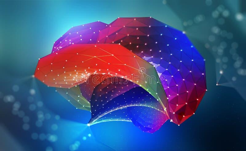 sztuczna inteligencja Cyfrowego m?zg Komputerowy umys? 3D ilustracja przysz?o?? royalty ilustracja