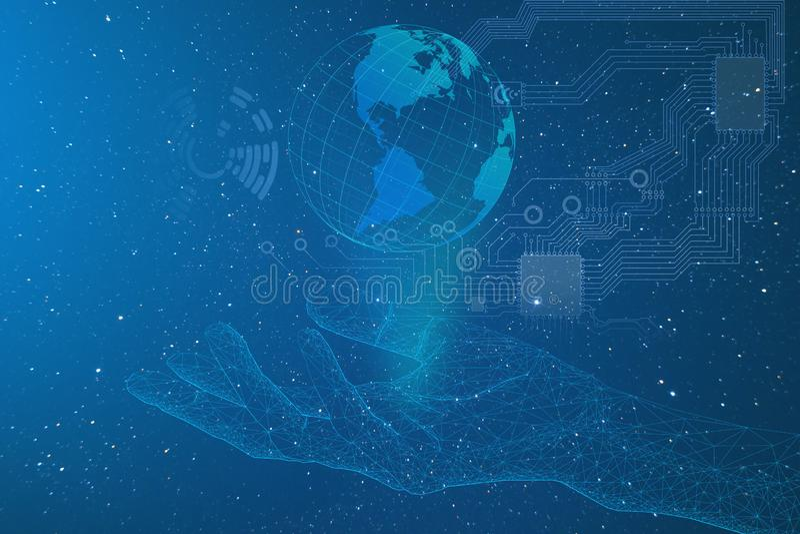 Sztuczna inteligencja, konceptualny przedstawicielstwo rozwój przemysł na planety ziemi, nowe technologie ach ilustracja wektor