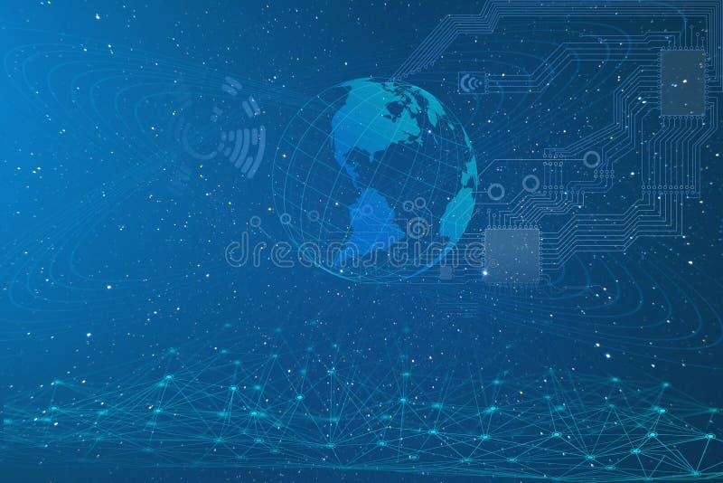 Sztuczna inteligencja, konceptualny przedstawicielstwo rozw?j przemys? na planety ziemi, nowe technologie ach royalty ilustracja