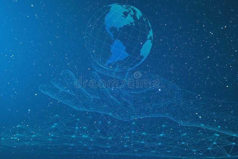Sztuczna inteligencja, konceptualny przedstawicielstwo rozw?j przemys? na planety ziemi, nowe technologie ach ilustracja wektor