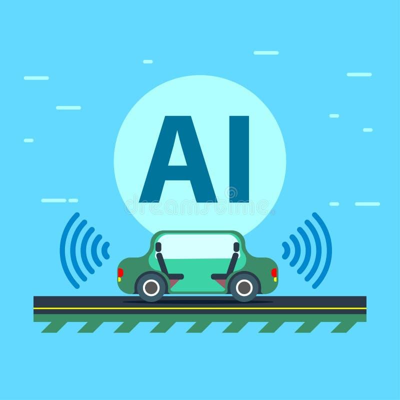 Sztuczna inteligencja kontroluje Autonomicznego pojazd ilustracji