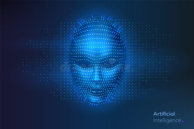 Sztuczna inteligencja lub AI, robot cyfrowa twarz royalty ilustracja