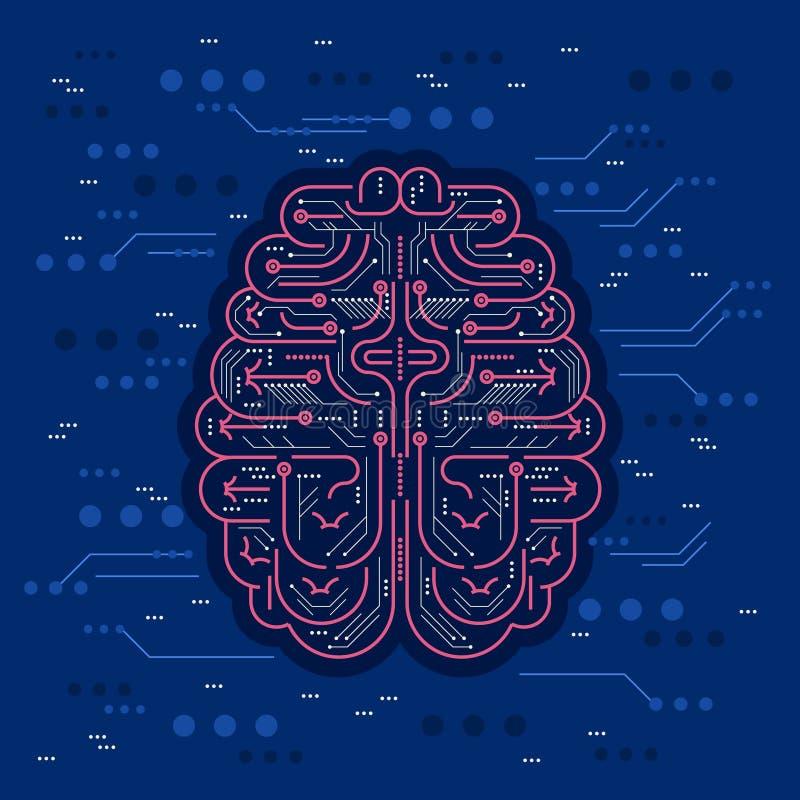 Sztuczna inteligencja lub AI wektor ilustracja Cyfrowego robota mózg z lontem i układy scaleni jako futurystyczna wirtualna osoba ilustracja wektor