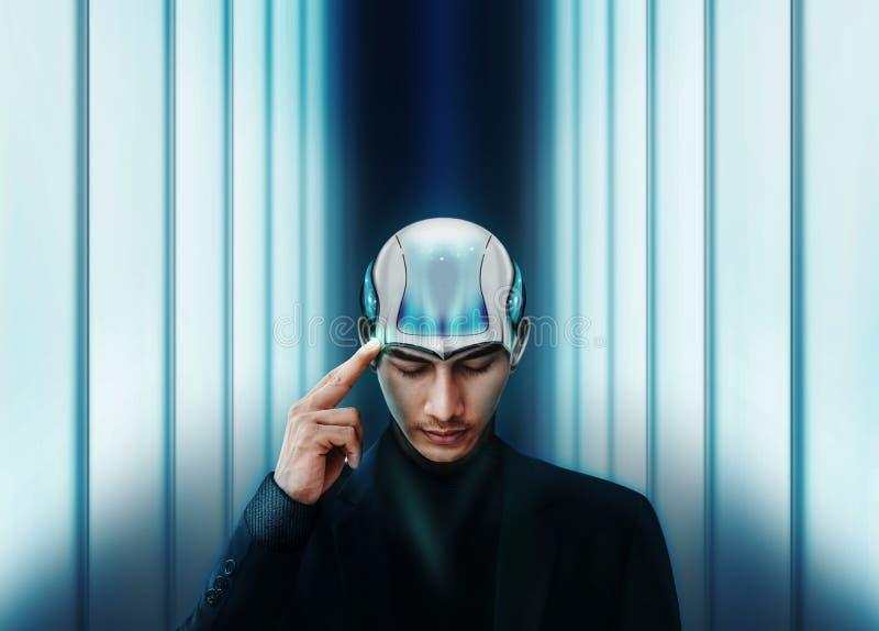 Sztuczna inteligencja Pracuje Wraz z Ludzkim pojęciem, autobus zdjęcie stock