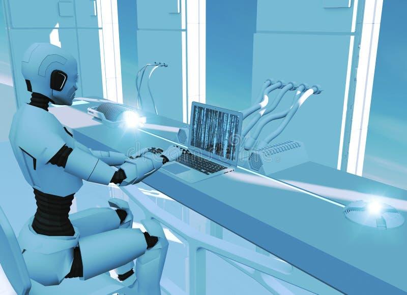 Sztuczna inteligencja, robot Cyborg na komputerze Nauki fikcja fantastyka naukowa Odszyfrowanie i programowanie ilustracja wektor