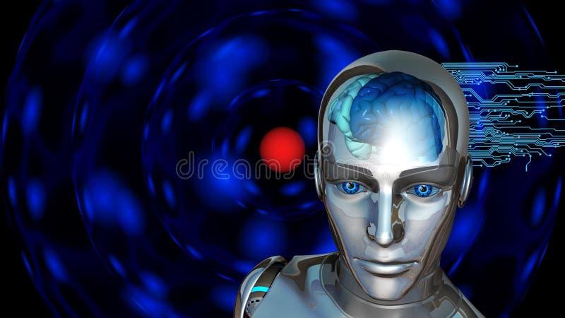 Sztuczna inteligencja - robot kobieta z ludzkim mózg ilustracja wektor