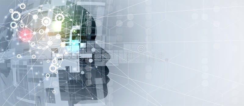 sztuczna inteligencja Technologii przekładni systemu sieci tło Wirtualny conc royalty ilustracja