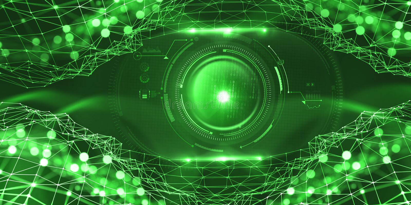 Sztuczna inteligencja w globalnej sieci Technologie cyfrowe przyszłość Komputerowa umysł kontrola ilustracji