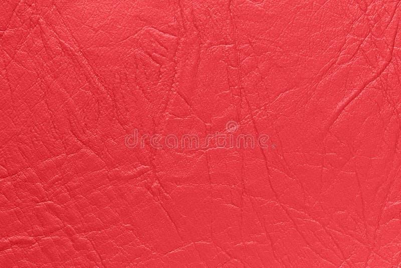 Sztuczna skóra w czerwonym kolorze Tło, tekstura obrazy stock