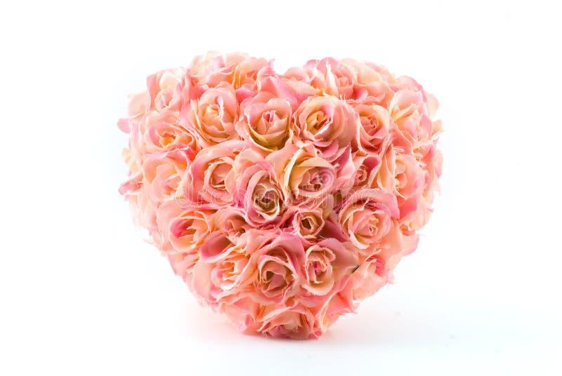 sztuczne serca różowe róże zdjęcia royalty free