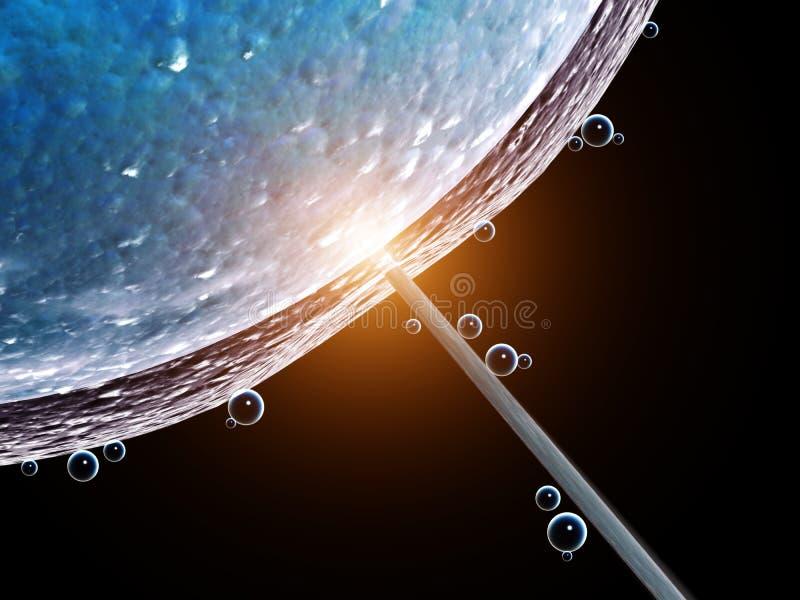 sztuczne zapłodnienie Igielny dziurawienie komórki błona ilustracja wektor