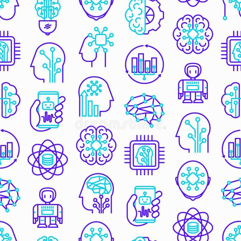 Sztucznej inteligenci bezszwowy wzór ilustracja wektor