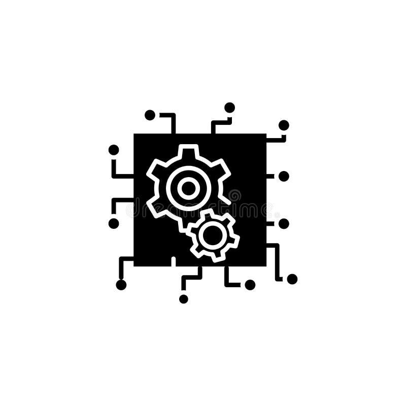 Sztucznej inteligenci czerni ikony pojęcie Sztucznej inteligenci płaski wektorowy symbol, znak, ilustracja royalty ilustracja