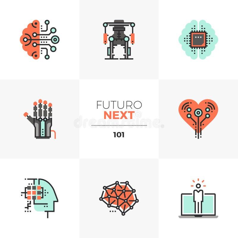 Sztucznej inteligenci Futuro Następne ikony royalty ilustracja