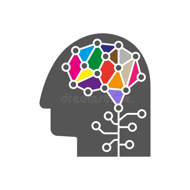 Sztucznej inteligenci i Maszynowego uczenie loga poj?cie Ludzkiej g?owy kontur z m??d?kow? ikon? Wektorowy symbol AI m?zg ilustracji