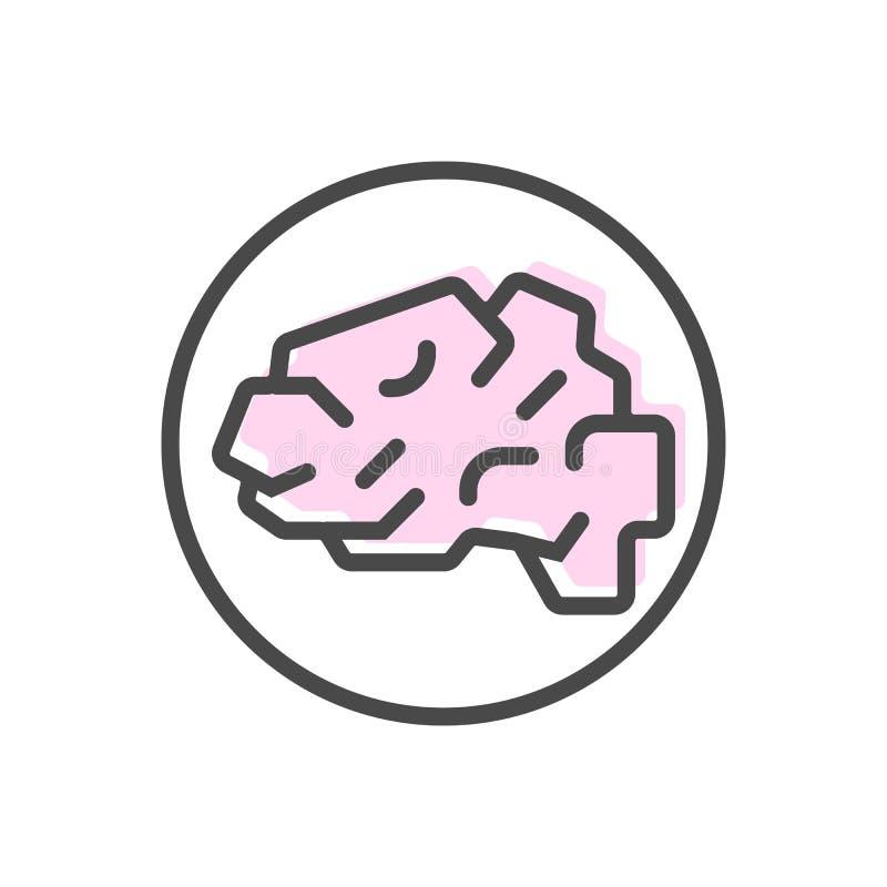 Sztucznej inteligenci ikona z móżdżkowym symbolem ilustracji