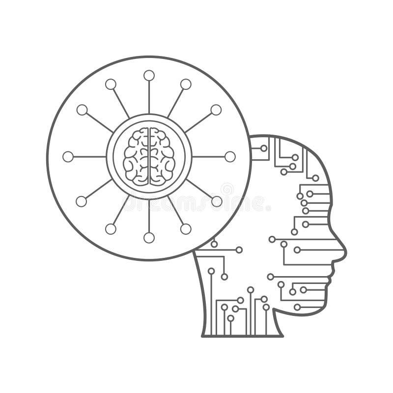 Sztucznej inteligenci ikony ilustracji
