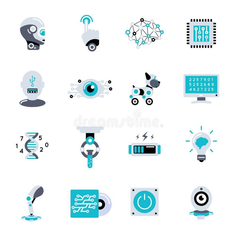 Sztucznej inteligenci ikony Płaski set ilustracji