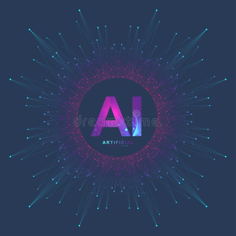 Sztucznej inteligenci logo Sztucznej inteligenci i Maszynowego uczenie pojęcie Wektorowy symbol AI Neural sieci ilustracja wektor