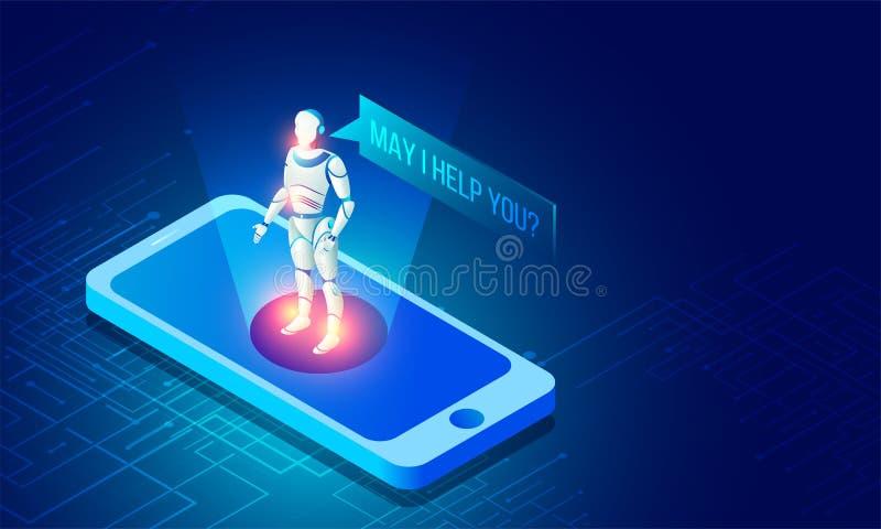 Sztucznej inteligenci lub rzeczywistości wirtualnej pojęcie z robotem jak royalty ilustracja