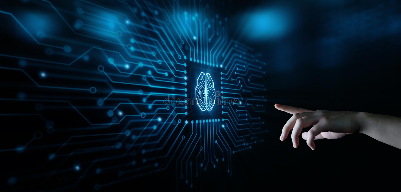 Sztucznej inteligenci Maszynowego uczenie technologii Biznesowy Internetowy pojęcie royalty ilustracja