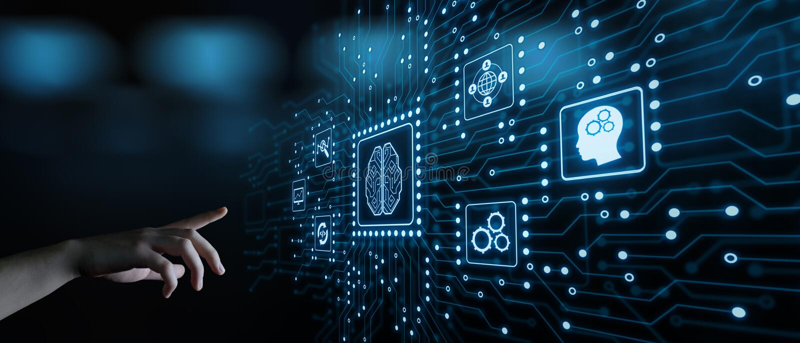 Sztucznej inteligenci Maszynowego uczenie technologii Biznesowy Internetowy pojęcie obrazy royalty free