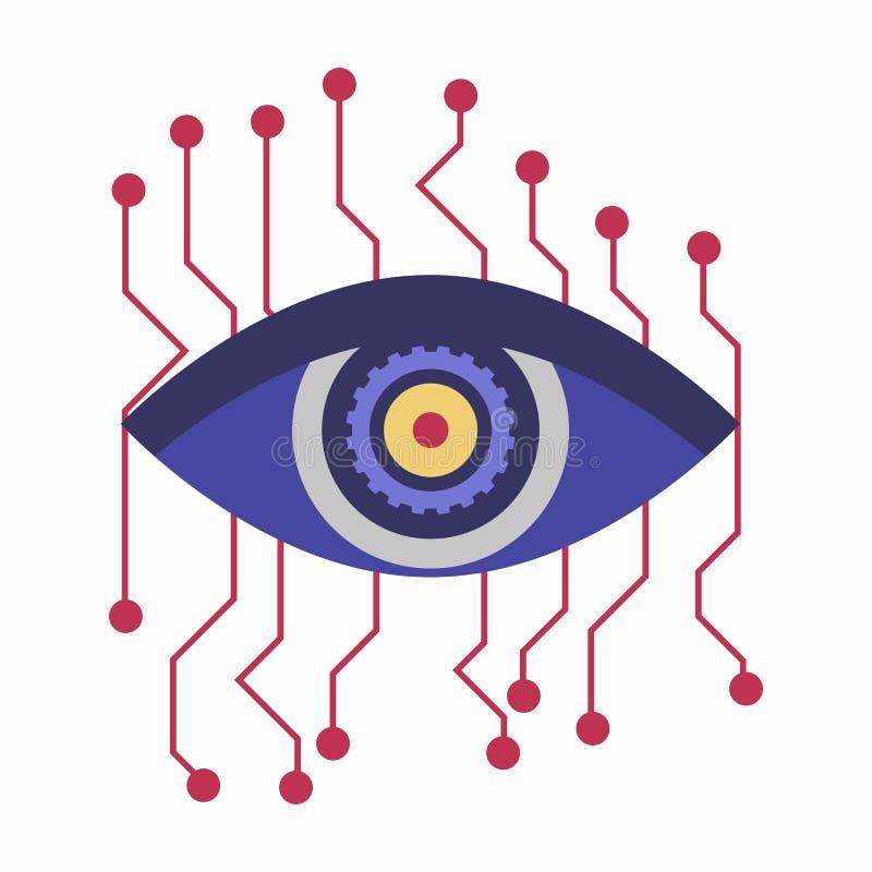 Sztucznej inteligenci oko z podłączeniowymi punktami odizolowywającymi na bielu ilustracja wektor