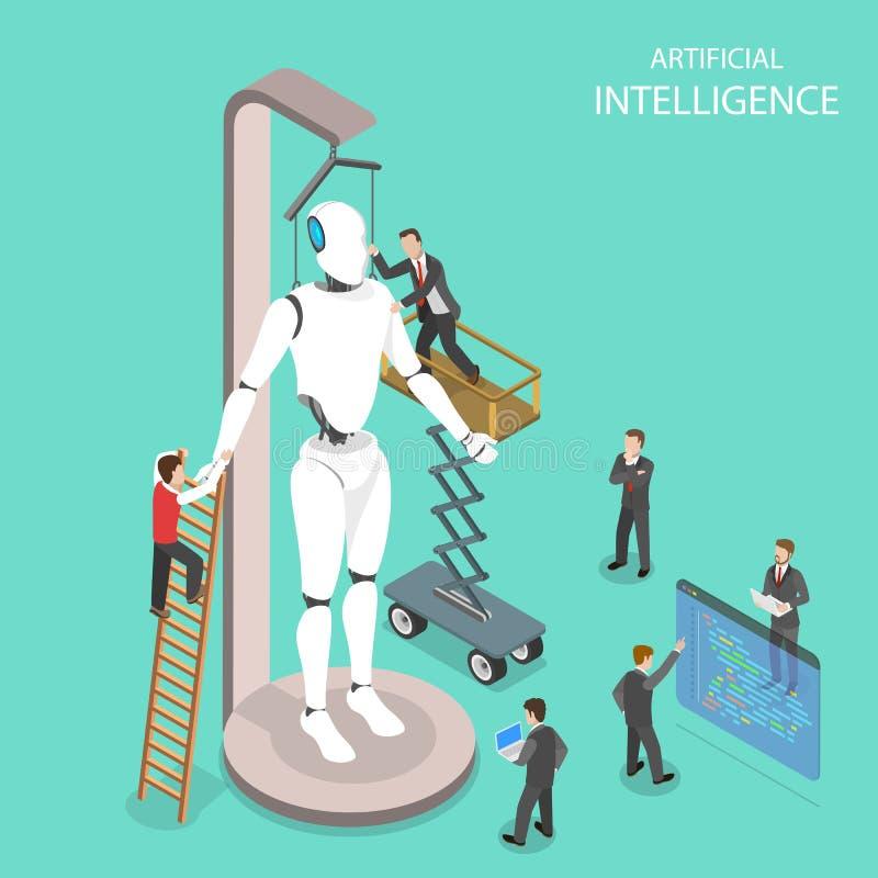 Sztucznej inteligenci płaski isometric wektor ilustracja wektor