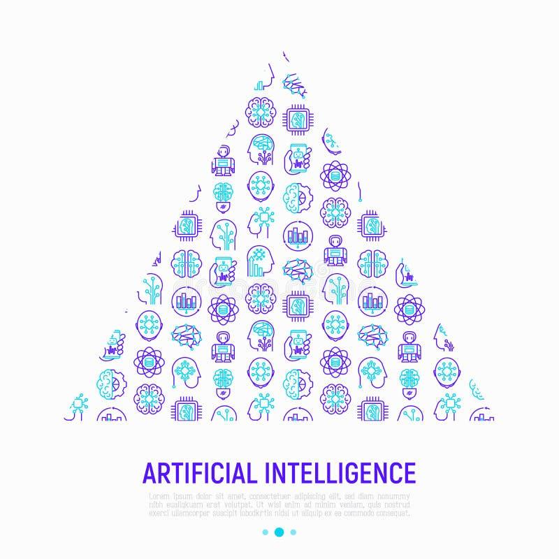 Sztucznej inteligenci pojęcie w trójboku ilustracja wektor