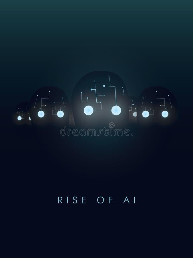 Sztucznej inteligenci pojęcie z robotem stawia czoło i oczy jarzą się w zmroku Symbol przyszłość, technologia, cyborgi i ilustracji