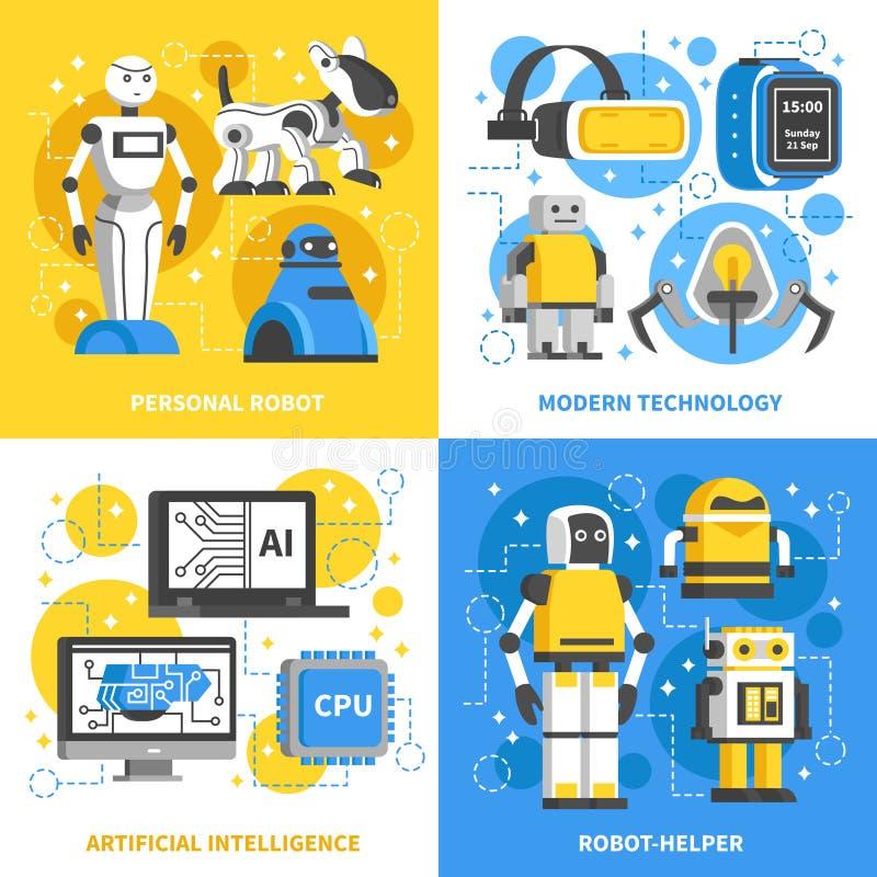 Sztucznej inteligenci 2x2 projekta pojęcie royalty ilustracja