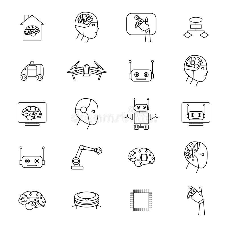 Sztucznej inteligenci znaków czerni ikony Cienki Kreskowy set wektor ilustracji
