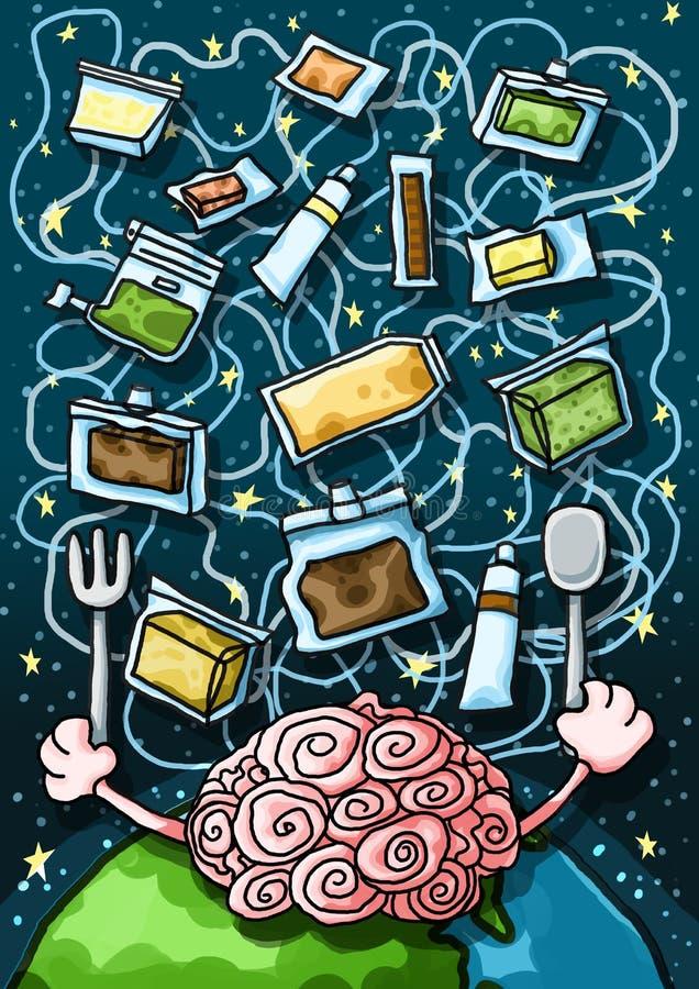 Sztucznej inteligencji Astronautyczny jedzenie ilustracja wektor