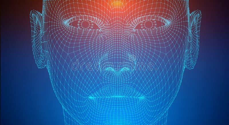 Sztucznej inteligencji głowa, miasto istota ludzka i innowacji nauk fikcje, Sztuczny technologii ludzkiej głowy pojęcie ilustracji